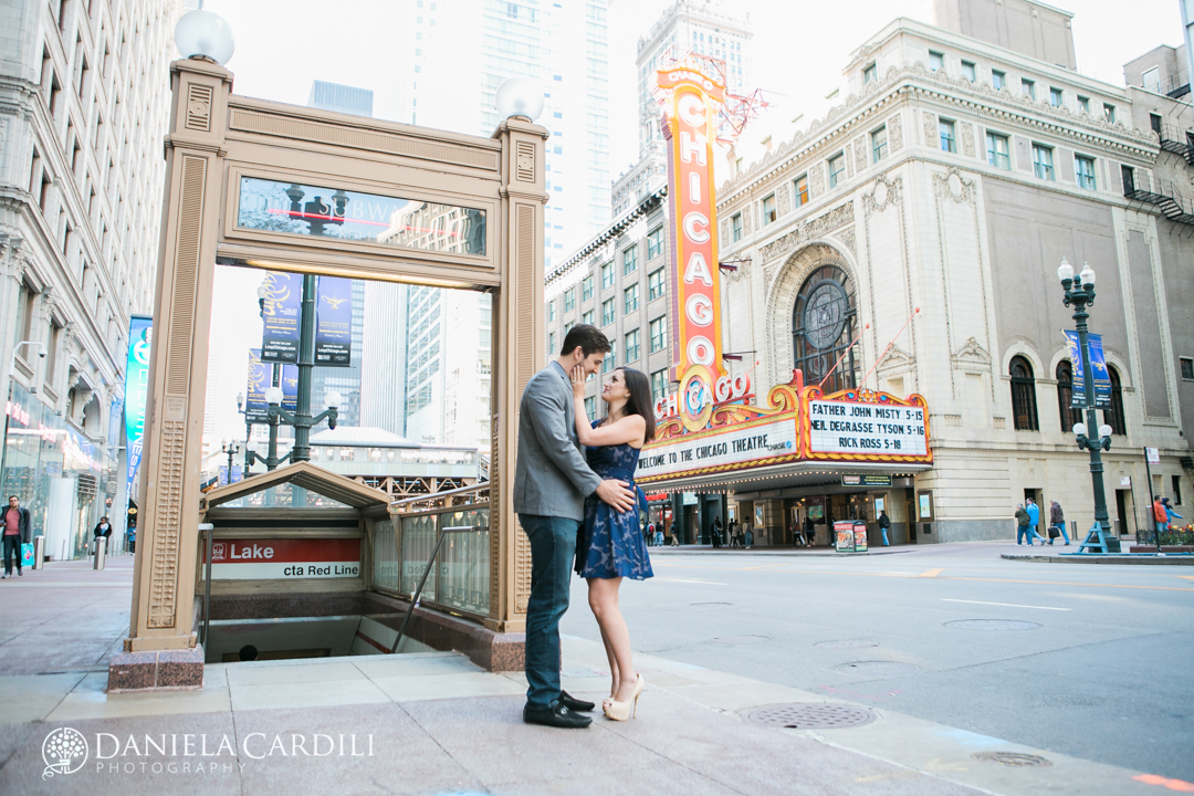 Chicago theater Engagement Photography Session, Franklin Street Bridge Engagement Session